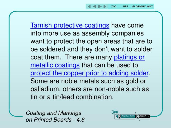 Tarnish protective coatings