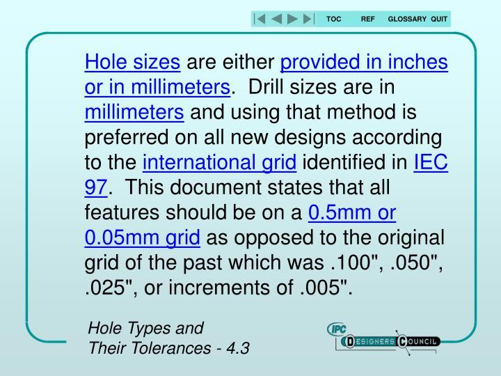 Hole sizes