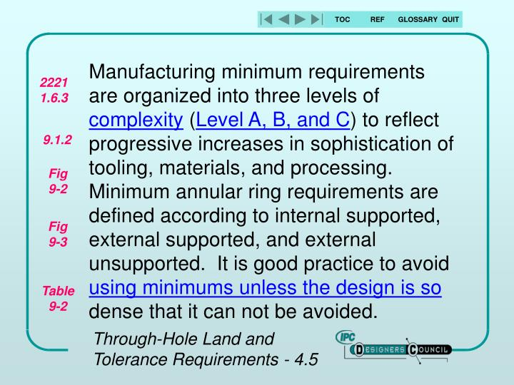 Manufacturing minimum requirements are organized into three levels of