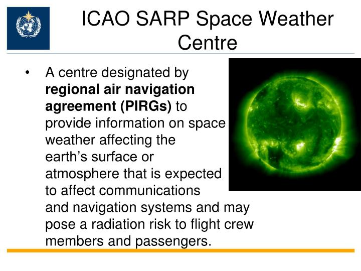 ICAO SARP Space Weather Centre