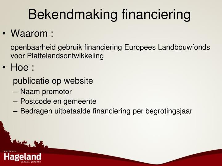 Bekendmaking financiering