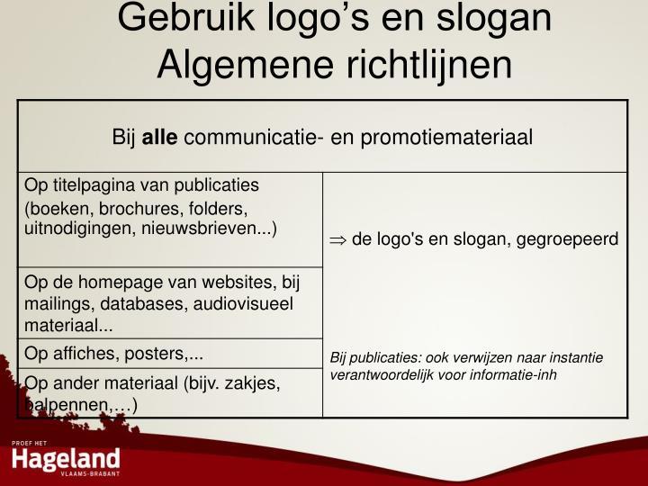 Gebruik logo's en slogan
