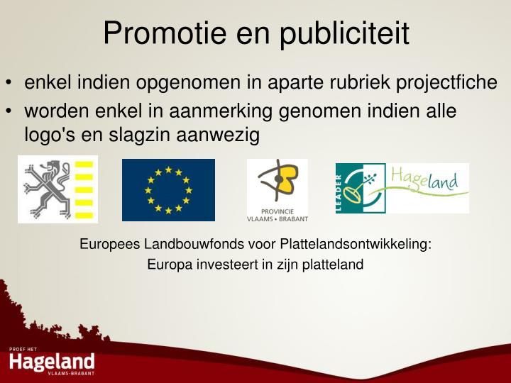 Promotie en publiciteit