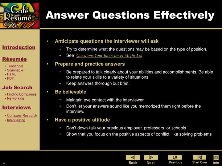 Answer Questions Effectively