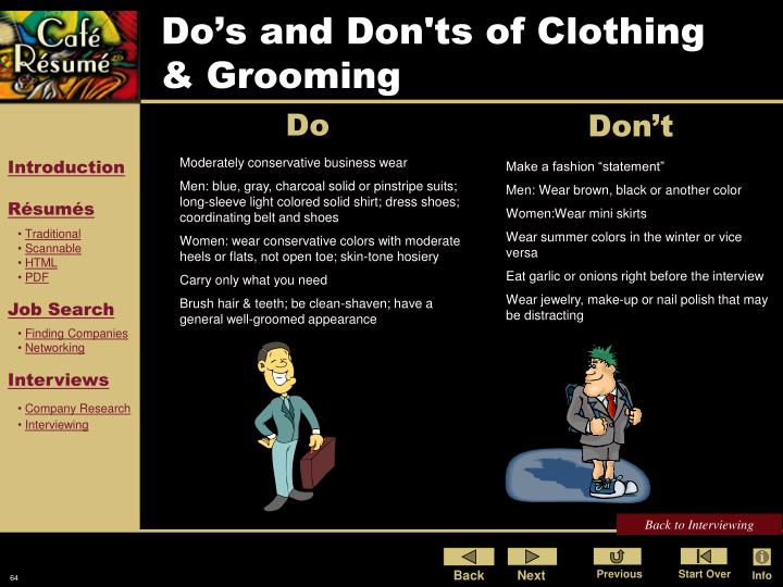 Do's and Don'ts of Clothing & Grooming