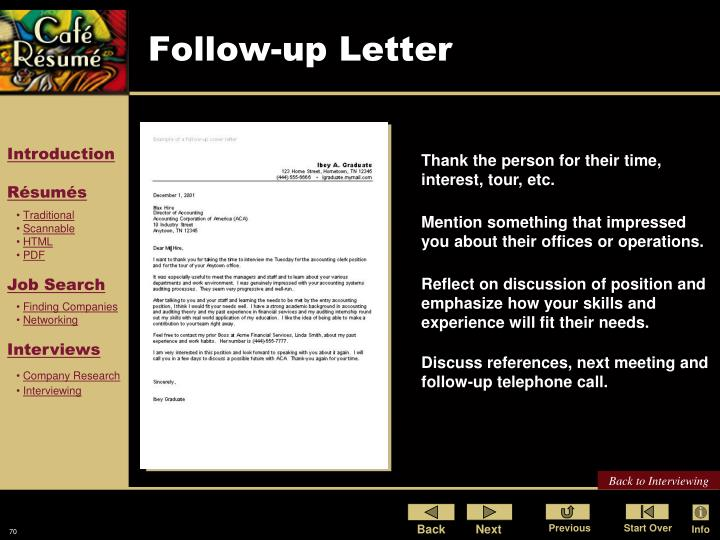 Follow-up Letter