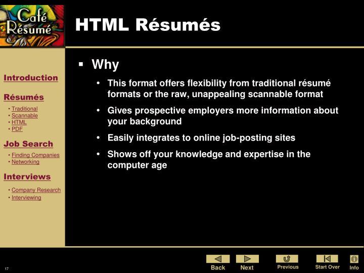 HTML Résumés