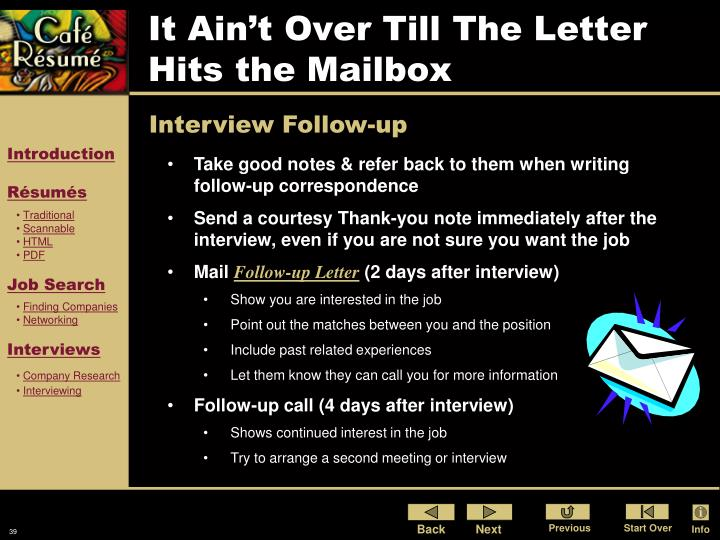 It Ain't Over Till The Letter Hits the Mailbox