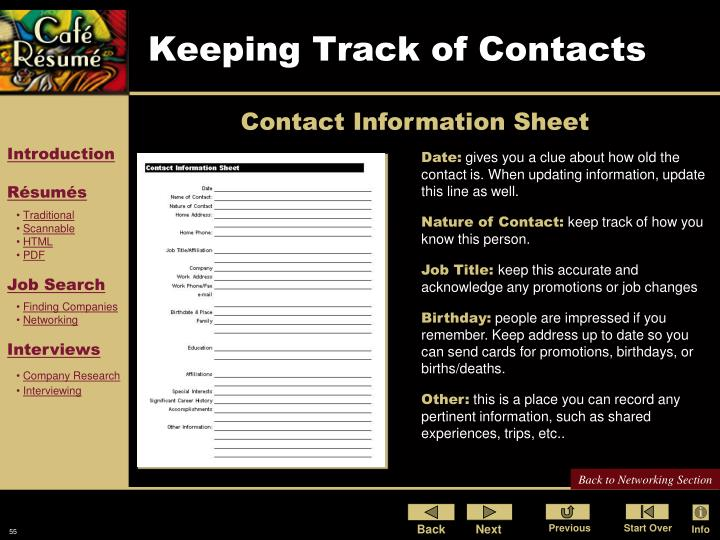 Keeping Track of Contacts