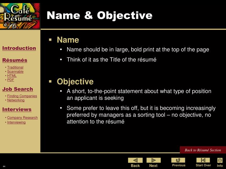 Name & Objective