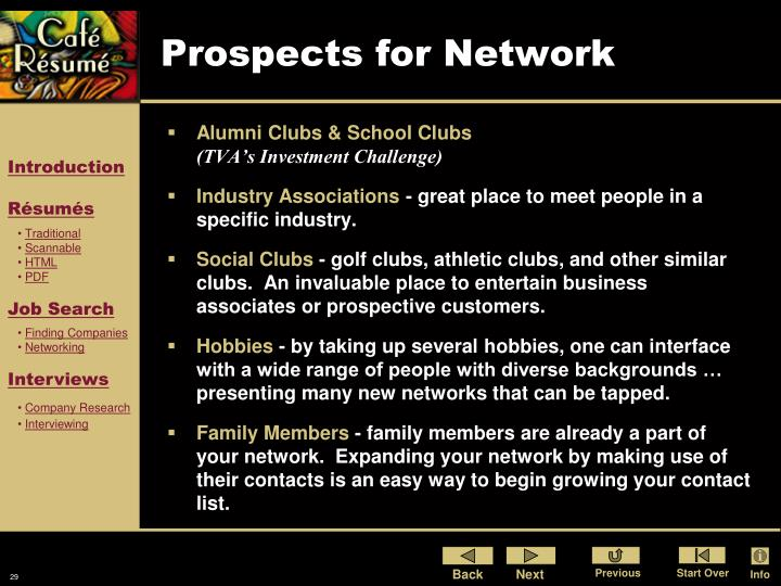Prospects for Network