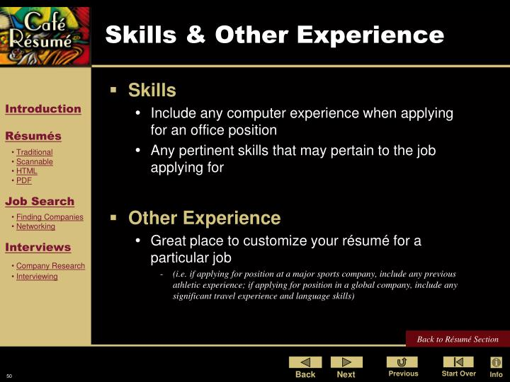 Skills & Other Experience