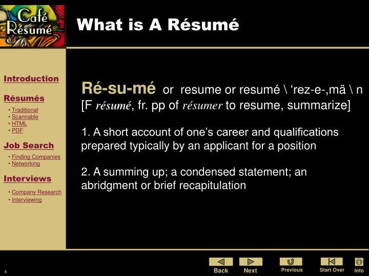 What is A Résumé