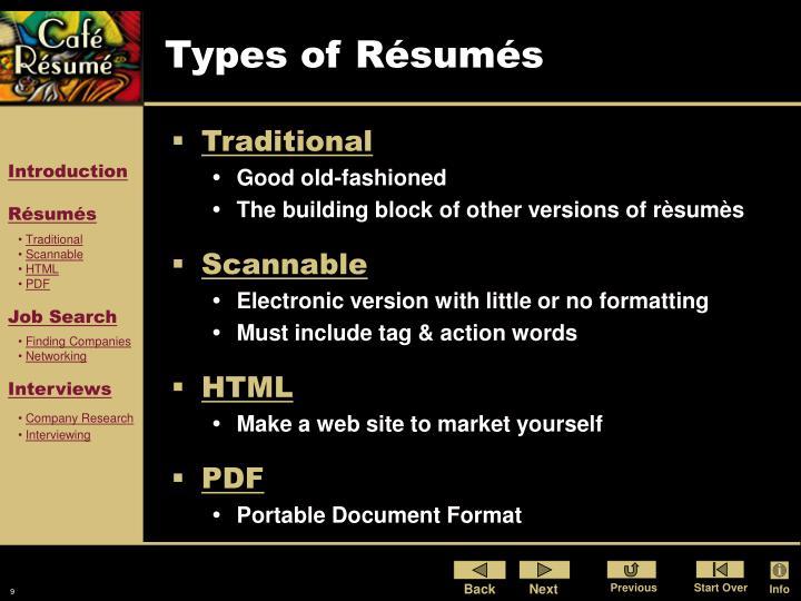 Types of Résumés
