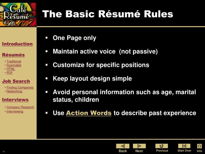 The Basic Résumé Rules