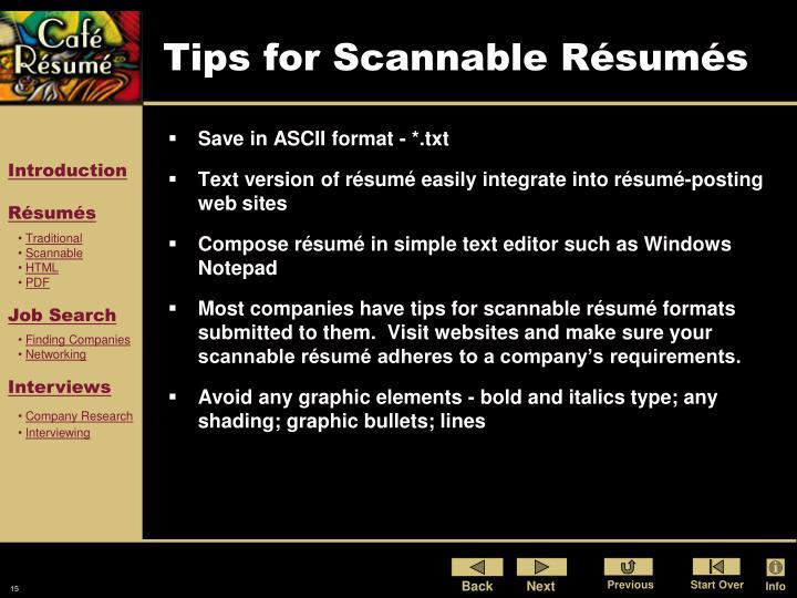 Tips for Scannable Résumés