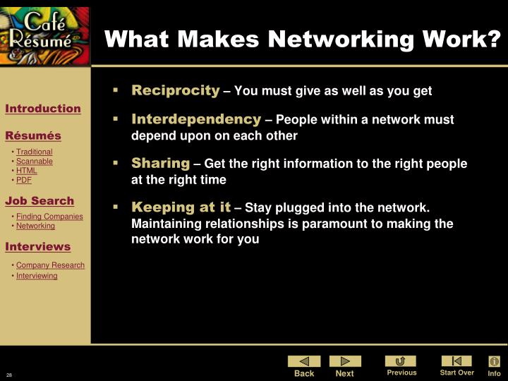 What Makes Networking Work?