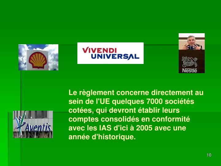 Le règlement concerne directement au sein de l'UE quelques 7000 sociétés cotées,
