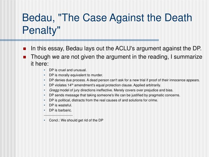 "Bedau, ""The Case Against the Death Penalty"""