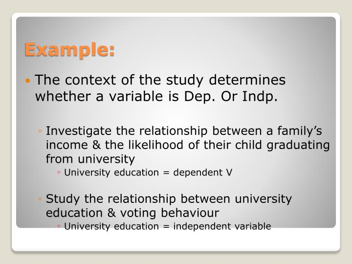 The context of the study determines whether a variable is Dep. Or
