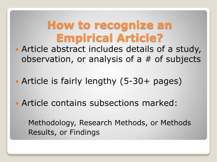 Article abstract includes details of a study, observation, or analysis of a # of subjects