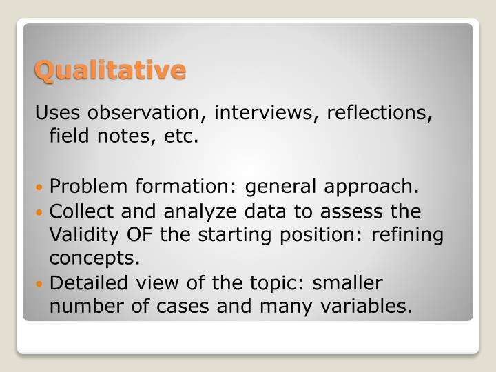 Uses observation, interviews, reflections, field notes, etc