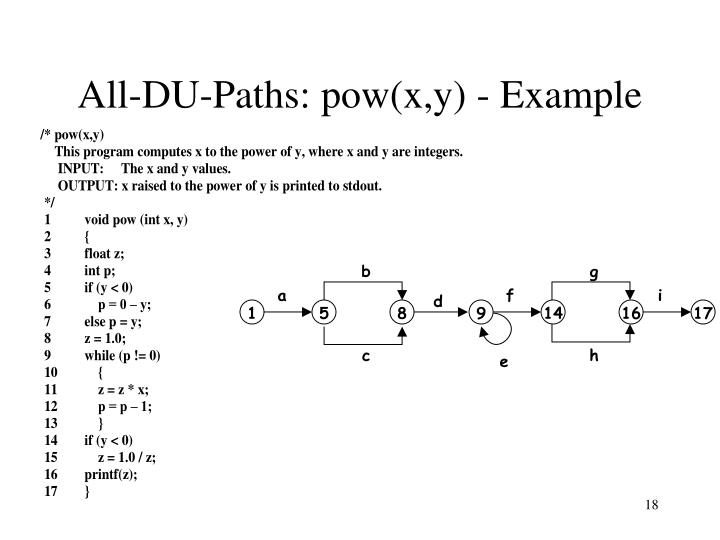 All-DU-Paths: pow(x,y) - Example