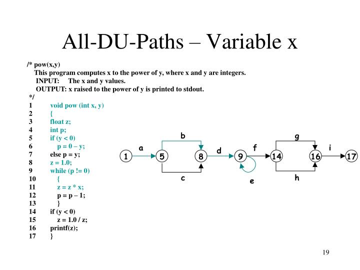 All-DU-Paths – Variable x