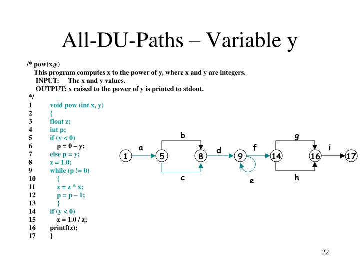 All-DU-Paths – Variable y