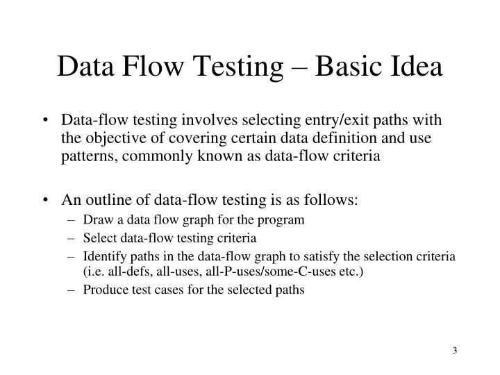 Data flow testing basic idea