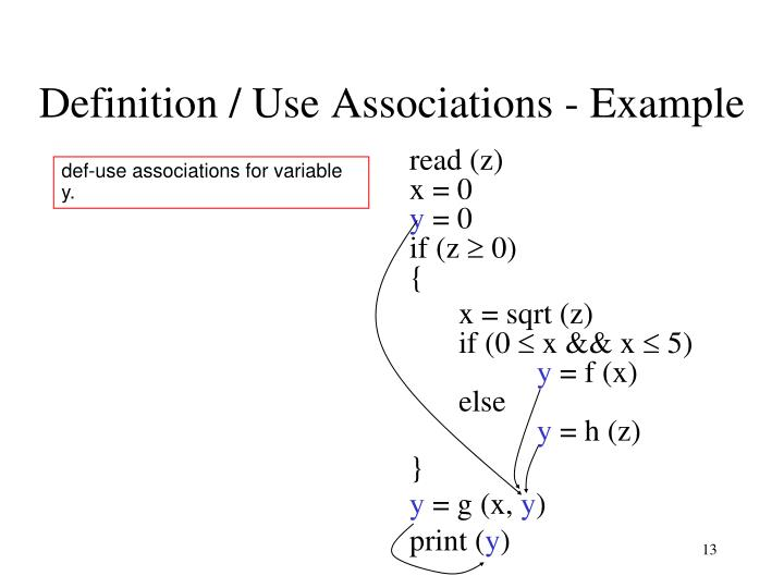 Definition / Use Associations - Example