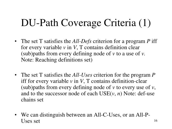 DU-Path Coverage Criteria (1)