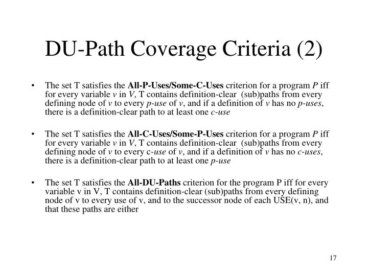DU-Path Coverage Criteria (2)
