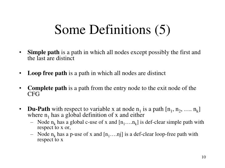 Some Definitions (5)