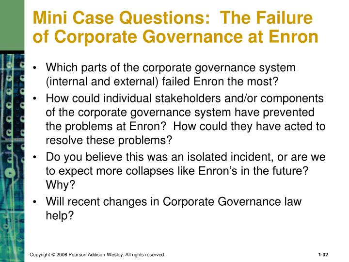 Mini Case Questions:  The Failure of Corporate Governance at Enron