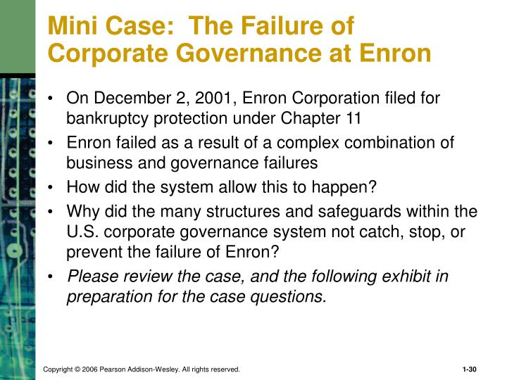 Mini Case:  The Failure of Corporate Governance at Enron