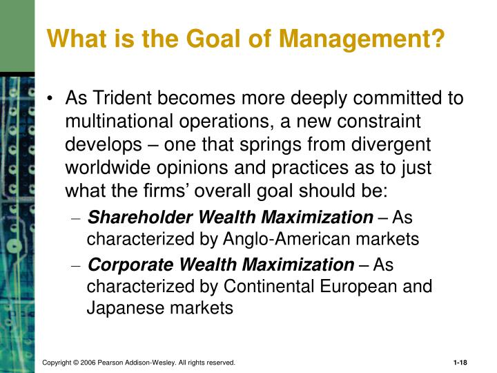 What is the Goal of Management?