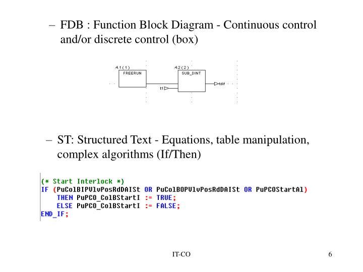 FDB : Function Block Diagram - Continuous control and/or discrete control (box)