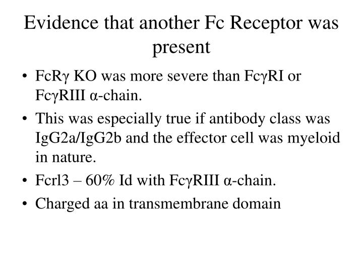 Evidence that another Fc Receptor was present