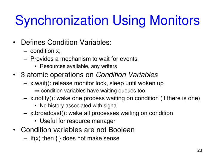 Synchronization Using Monitors