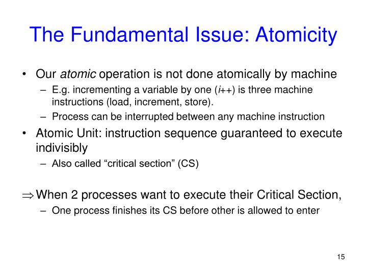 The Fundamental Issue: Atomicity