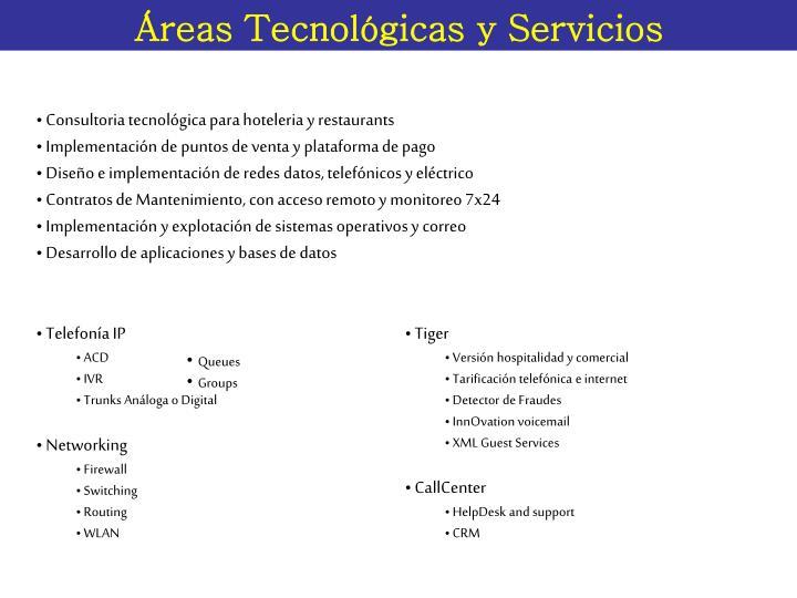 Áreas Tecnológicas y Servicios