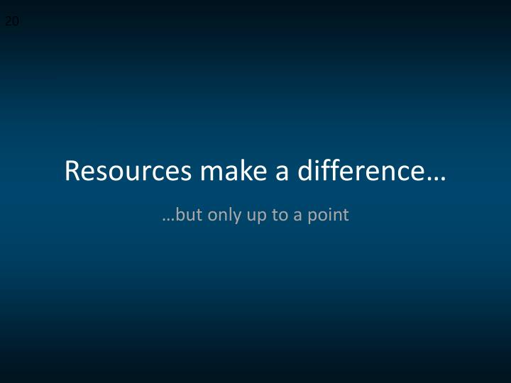 Resources make a difference…