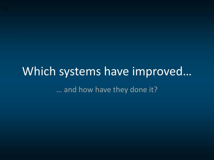 Which systems have improved…
