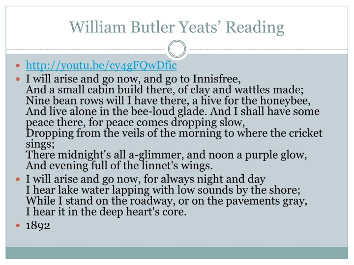William Butler Yeats' Reading