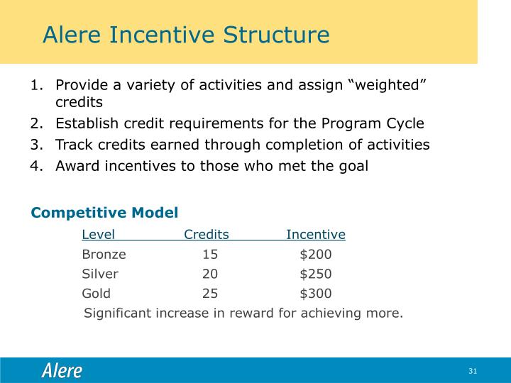 Alere Incentive Structure