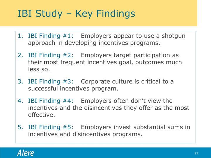 IBI Study – Key Findings