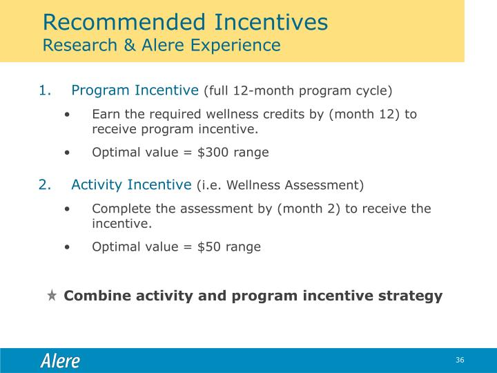 Recommended Incentives