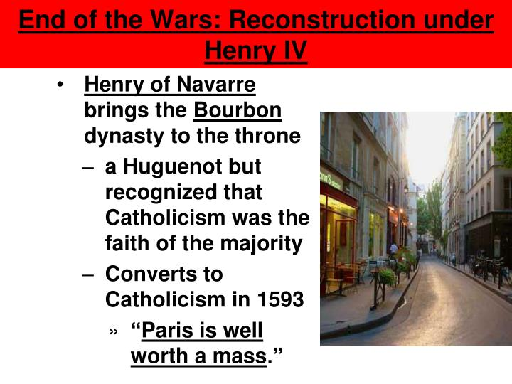 End of the Wars: Reconstruction under Henry IV