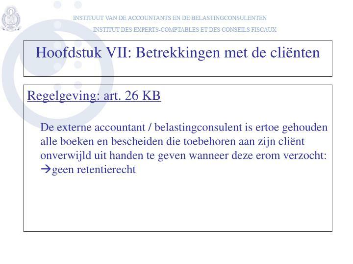 Regelgeving: art. 26 KB